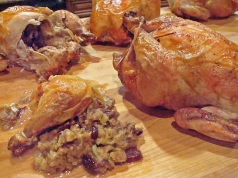 Grill Roasted Hens with Currant & Pecan Cornbread Stuffing