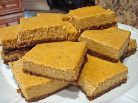 Bourbon Pumpkin Cheesecake Bars