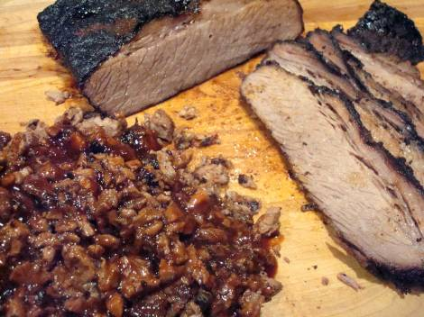 Cowboy Brisket - chopped and sliced