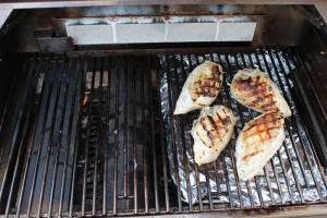 Finishing the chicken with indirect grilling