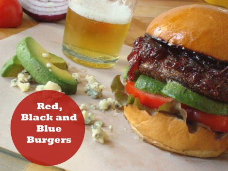 red black and blue burger