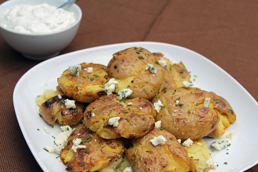 Grilled Smashed Potatoes with Blue Cheese and Chive Sauce | Grilling ...