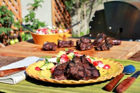 lamb chops w greek salad