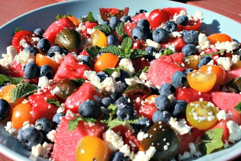 watermelon-tomato-blueberry salad