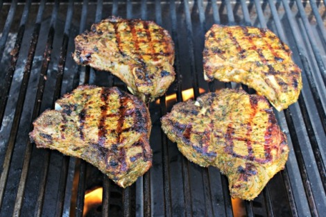 red chimi chops on grill