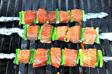 Salmon Yakitori on grill