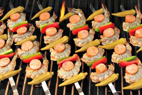 Cajun Shrimp Skewers on grill