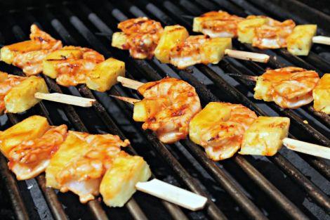 shrimp-pineapple skewers on grill