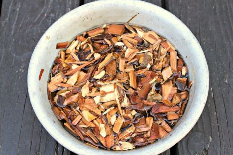 wood chips soaking